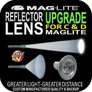 MAGLITE UPGRADE REFLECTOR LENS  for FLASHLIGHT TORCH C & D SIZE PATENTED DESIGN