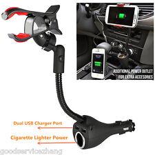 3in1 Car Smartphone Mount Holder Dual USB Charger Port+Cigarette Lighter Power