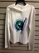 Bublz White Women's Medium World Dance Long Sleeve Hooded T-Shirt (NW/OT)
