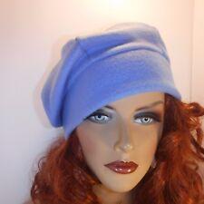 "Chemo Hat Light Blue Anti-pill Warm Fleece Beret Cap  ""Something4you"" Alopecia"