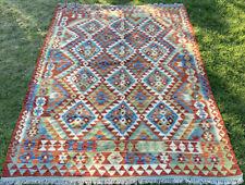 Afghan Kilim Handmade Rug Vintage Chobi Kilim Antique LargeRug 257x171cm