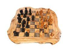 Schach mit Figuren rustikal aus Olivenholz 45 x 45cm,Schachspiel, Schachfigur