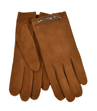 Ralph Lauren Purple Label Chestnut Suede Silk Gloves 8.5 New $295