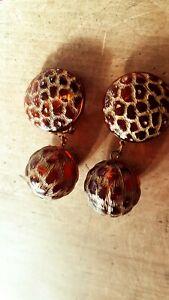Stunning VTG French 80s Amber TRANSPARENT Leopard Print Dangle Drop Earrings