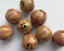 8 Glazed Ceramic Round Gourd Beads, Beige/Pink, 15 mm. Jewellery/Beading/Crafts