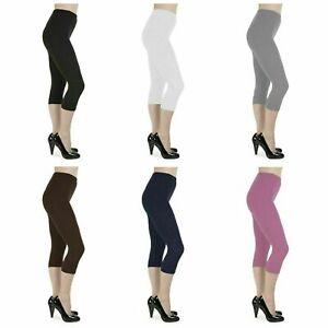 Womens Ladies Cropped Capri Leggings Plus Size 6 8 10 12 14 16 18 20 22 24 26