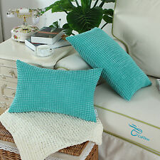 2Pcs Square Turquoise Pillow Cushion Cover Corduroy Corn Striped 12'' X 20''