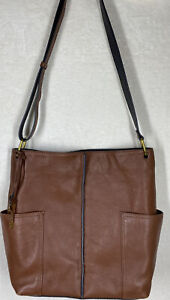 Fossil Bucket Bag Brown Leather Side Pockets EUC
