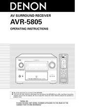 Denon AVR-5805 AV Receiver Owners Manual