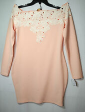 PALE PINK LADIES FORMAL PARTY DRESS STRETCH BODYCON SIZE 14 CARA MIA MILAN BNTW