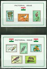 GHANA  IMPERFORATED SOUVENIR SHEETS FAUNA SCOTT#194a & 198a MINT NEVER HINGED