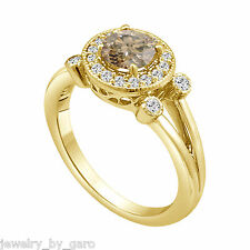 18K YELLOW GOLD FANCY CHAMPAGNE BROWN DIAMOND ENGAGEMENT RING 1.03 CARAT HALO