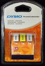Dymo 12mm LETRATAG etiqueta de cinta Variedad Paquete Triple Nuevo