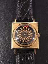 Vintage Ernest Borel Cocktail Watch, Kaleidoscopic, Mystery Dial, Leather band