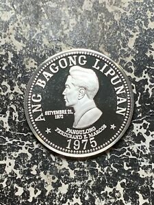 1975 Philippines 50 Piso Lot#Z4411 Large Silver Coin! Proof!