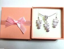 Wise Owl Necklace & Earrings Boxed Gift Set Bridesmaid Birthday Christmas Gift