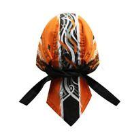 Black Orange Pinstripe Flames Doo Rag Headwrap Skull Durag Sweatband Capsmith