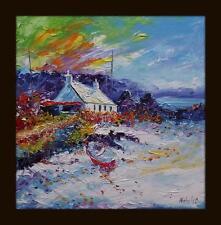 SUNSET BEACHED BARCHE Kintyre hebridean COLOURIST Pittura ad Olio: Natalie SOUTER