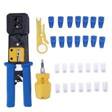 Crimp Tool Lan Wire Crimping Kits Cut & Strip w/ Connectors Covers Network Rj45