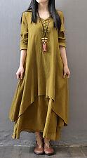 Women Long dress Fashion Clothing Muslim maxi dress Islamic Kaftan Shirt dress M