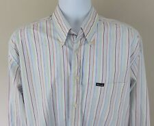 Faconnable Men's Blue and White Striped Button Down Long Sleeve Shirt Size Large