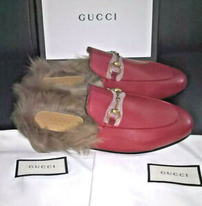 £790 BNIB AUTHENTIC GUCCI FUR PRINCETOWN LEATHER LOAFERS