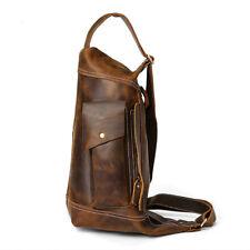 Mens Vintage Cowhide Leather Chest Messenger Cross body Bags Shoulder Backpack