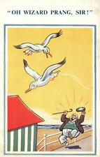 VINTAGE COMIC WIZARD PRANG SIR BIRD DROPS ... ONTO MAN'S HAT POSTCARD - UNUSED