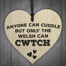 Only The Welsh Can CWTCH Novelty Wooden Hanging Heart Plaque Wales Hug Gift Sign