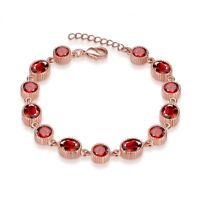 Red Ruby Oval 7x5mm 14k Rose Gold Plate 925 Sterling Silver Bracelet 7 Inches