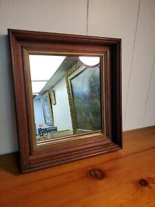 Antique Walnut Wood Gold Trim Deep Well Picture Framed Mirror