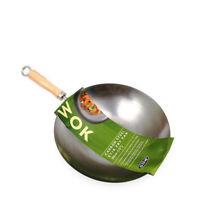 New Wok Professional Carbon Steel Chinese 30cm Wood Handle Flat Base Stir Fry