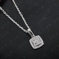 14k White Gold Fn 0.35 Ct Round Diamond Ladies Cluster Pendant Necklace