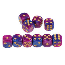10x Purple Blue Dices D6 Six Sided 16mm D6 for MTG RPG Table Board Game Toy