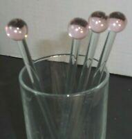 "Lot of 4 Clear Glass Crystal Swizzle Cocktail Sticks Stir Rods Stirrers balls 8"""