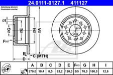 2x Bremsscheibe für Bremsanlage Hinterachse ATE 24.0111-0127.1
