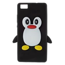 Soft Silikon Case Pinguin Cute 3D Flexibel Hülle Schwarz für Huawei P8 Lite