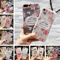 For iPhone 8 7 Plus X 6s Cute Relief Flower Clear TPU Soft Silicone Case Cover