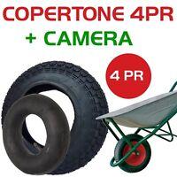 COPERTONE PNEUMATICO 3.50-8 4PR + CAMERA D'ARIA 3.50- 8 PER RUOTA CARRIOLA