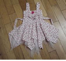 NUEVO niña blanco y rosa de Topos Fiesta Vestido en 18-24 meses 2-3 3-4 AÑOS