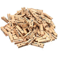 100Pcs 35mm Mini Natural WOODEN Peg Clothes Photo Paper Clothespin Craft Clips