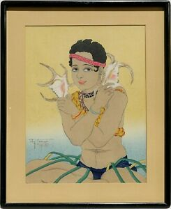 Paul Jacoulet Basilio Jeune Garcon de Saipan ORIG 1934 Signed & #'d Woodblock NR