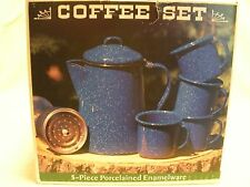 Porcelained Enamelware Coffee Set Camping Blue 5-piece GSI Outdoors New 1990's
