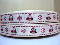 1 x metre OWL SNOWFLAKE 2cm Grosgrain Ribbon Craft Christmas Xmas