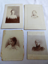 LOT OF 4 VINTAGE ANTIQUE PHOTOGRAPH CABINET PHOTO  WOMEN