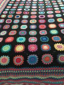 Crochet Blanket Black Granny Square Vintage Retro Style Large King Size