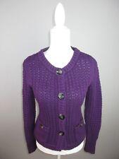 Eddie Bauer women's size Medium Purple Knit Angora Viscose Cardigan Sweater Re5