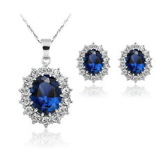 Women Fashion Blue Sapphire Crystal Costume Jewelry Necklace Earrings Sets CN