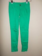 City Streets Juniors Size 3 Green Skinny Jeans Inseam is 32.5""