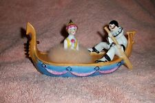 "Antique Heubach Pierrot in the Gondola Powder Puff Dish Rare Pierrette 6"" Long"